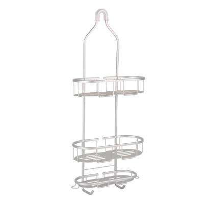 Flat Shelf Over-the-Showerhead Caddy in Rustproof Satin Chrome 3 Shelves