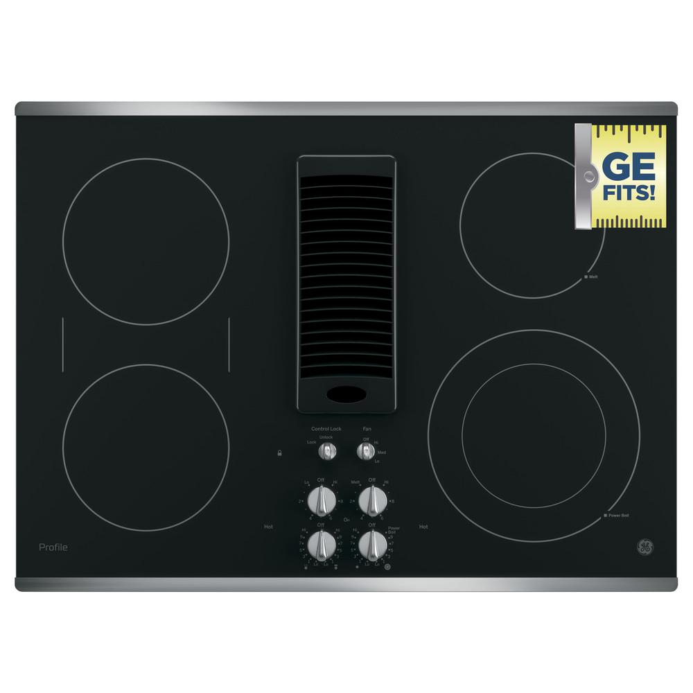 GE Profile 30 in. Radiant Electric Downdraft Cooktop in Stainless Steel  with 4 Elements with