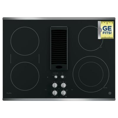 Profile 30 in. Radiant Electric Downdraft Cooktop in Stainless Steel with 4 Elements with Rapid Boil Technology