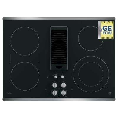30 in. Radiant Electric Downdraft Cooktop in Stainless Steel with 4 Elements including Power Boil