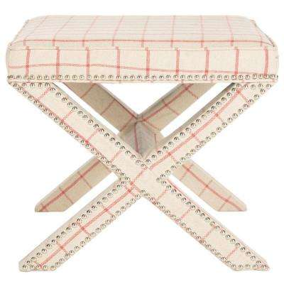 Palmer Taupe and Red Accent Ottoman