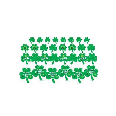 St. Patrick's Day Paper Printed Shamrock Cutout Assortment (30-Count, 2-Pack)