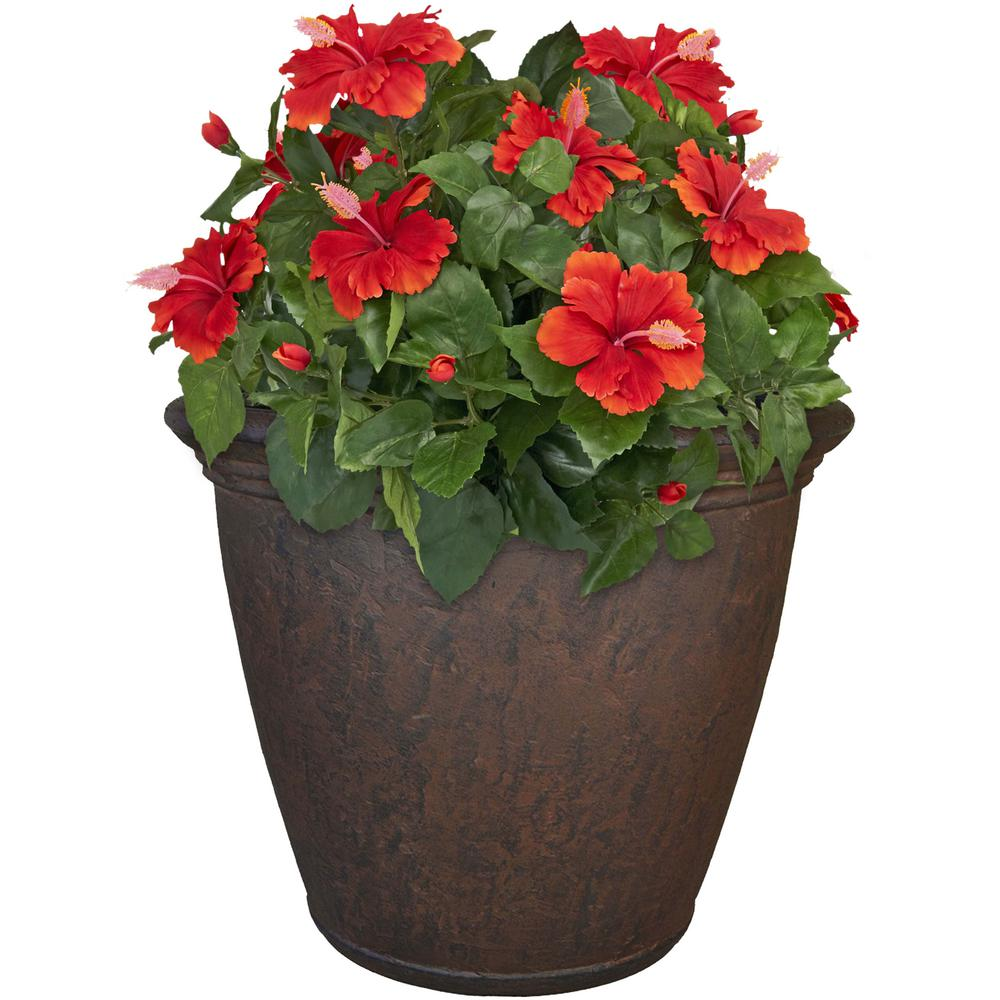 Rust Anjelica Resin Outdoor Flower Pot