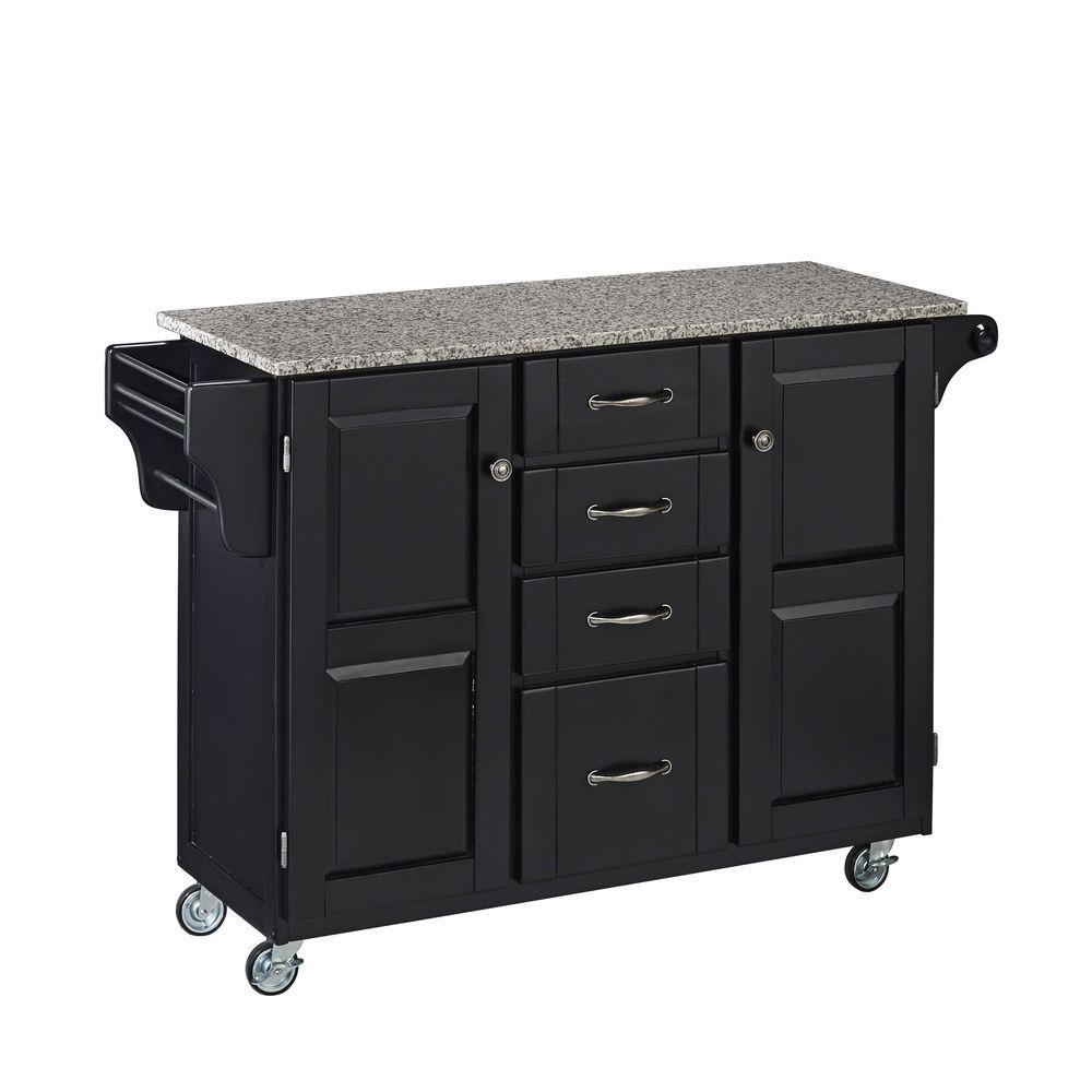 Home Styles Black Kitchen Cart With Salt & Pepper Granite Top