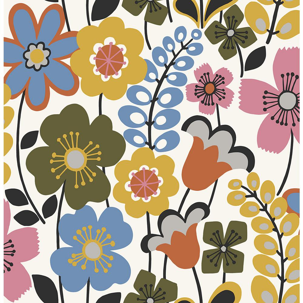 Piper Multicolor Floral Multicolor Paper Strippable Roll (Covers 56.4 sq. ft.)