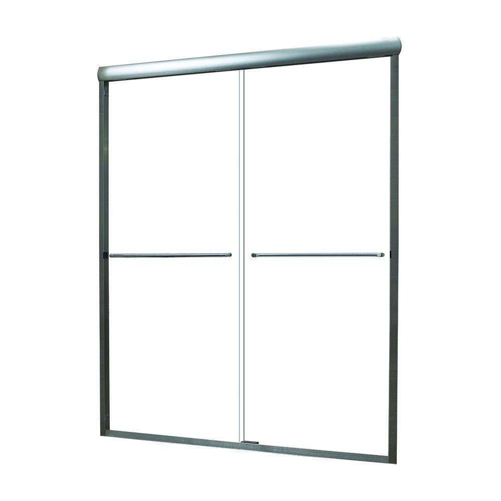 Foremost Cove 53 in. to 57 in. x 65 in. Semi-Framed Sliding Bypass Shower Door in Silver with 1/4 in. Clear Glass