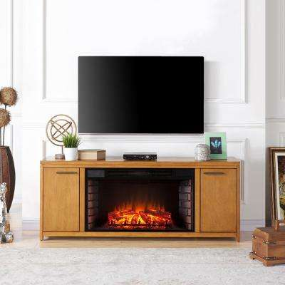 Telley 60.25 in. Electric Fireplace TV Stand with 33 in. Widescreen Firebox in Weathered Oak