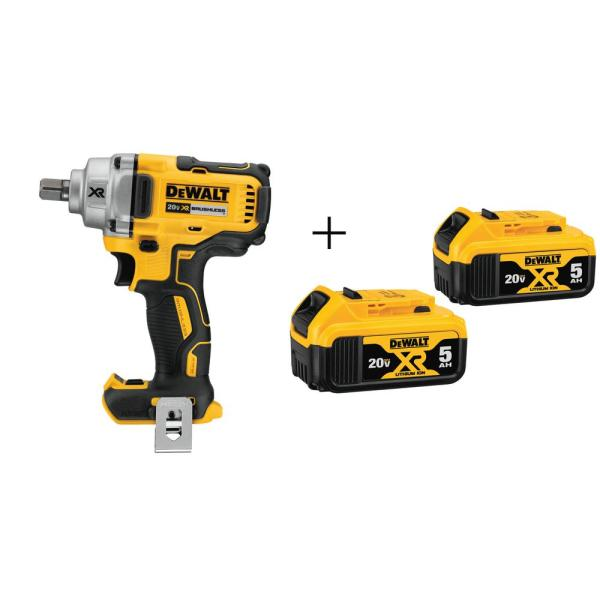 DEWALT 20-Volt MAX XR Lithium-Ion Cordless 1/2 in. Impact Wrench with Detent Pin Anvil with Free Premium Battery Pack 5.0 Ah