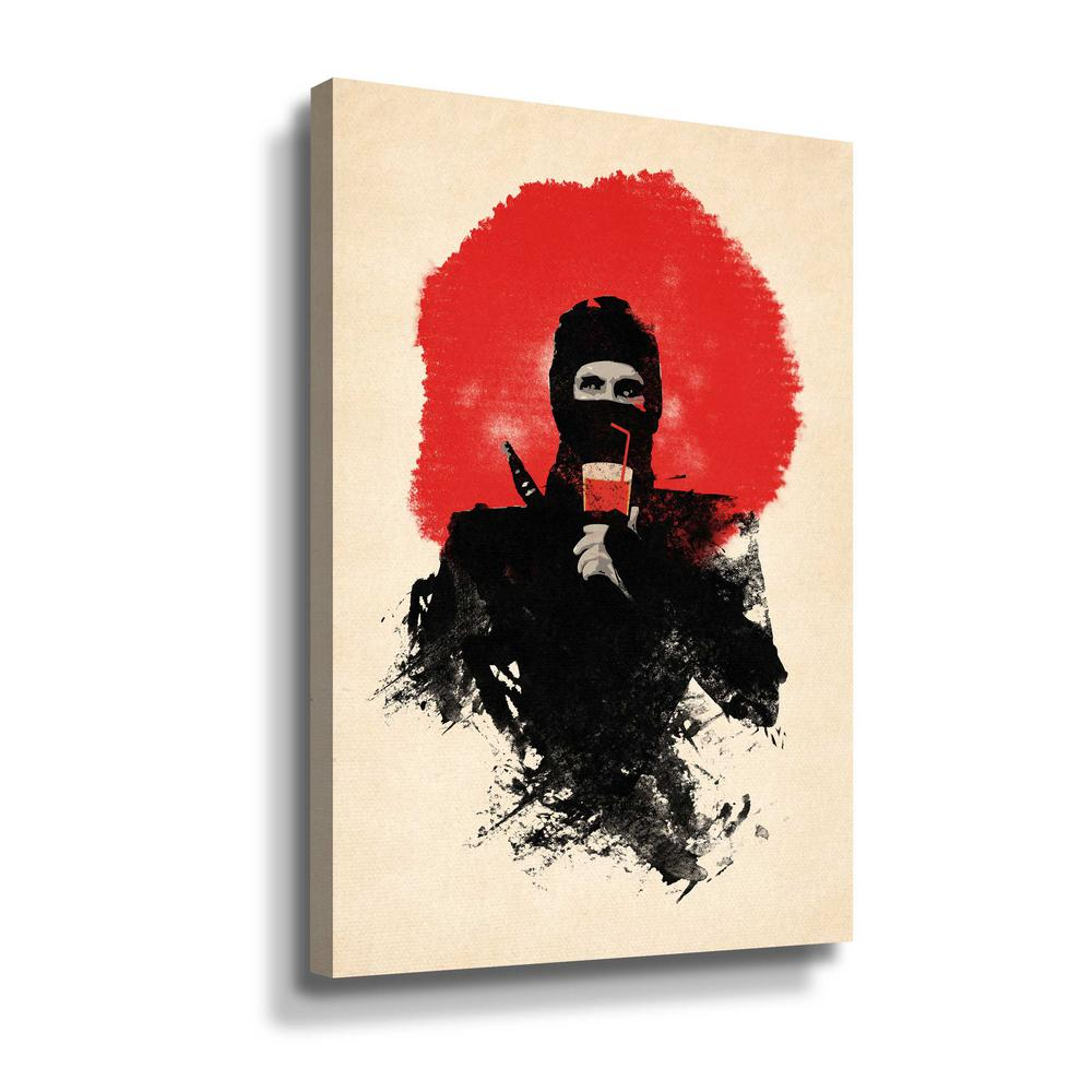 ArtWall 'American Ninja' by Robert Farkas Canvas Wall Art, Black This beautiful gallery wrapped canvas art is the perfect piece of wall decor for that bare wall. Display this gorgeous wall art decor in the living area with some brushed nickel sconces. Hang this artwork in the dining area for a wonderful conversation piece. Color: Black.