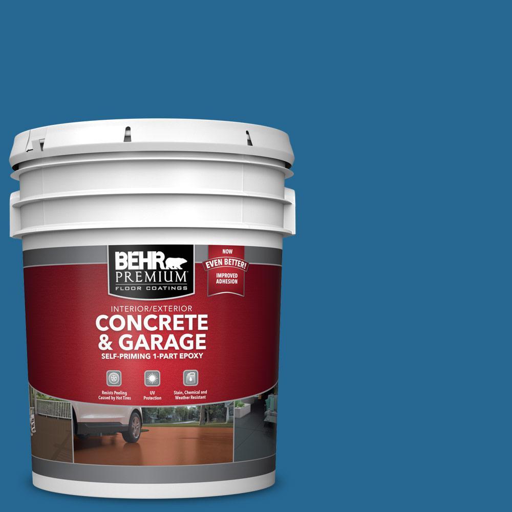 BEHR PREMIUM 5 gal. #OSHA-1 OSHA SAFETY BLUE Self-Priming 1-Part Epoxy Satin Interior/Exterior Concrete and Garage Floor Paint