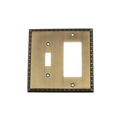 Egg and Dart Switch Plate with Toggle and Rocker in Antique Brass