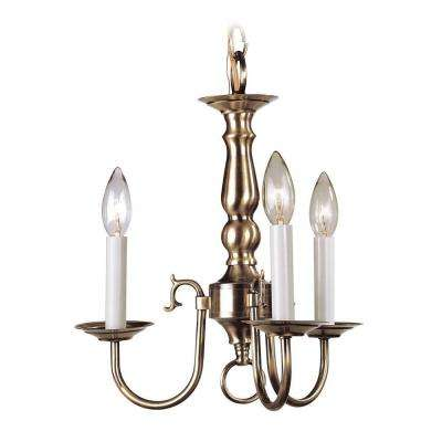 3-Light Antique Brass Chandelier