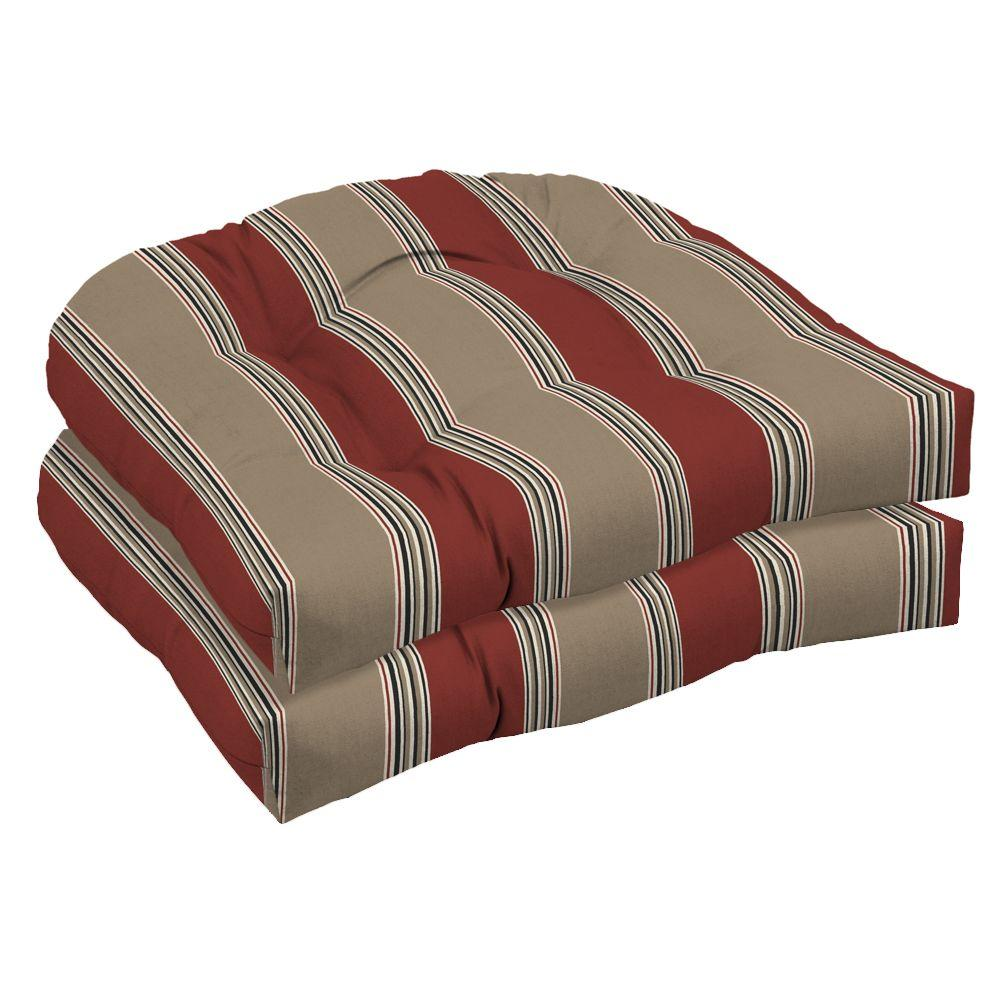 Hampton Bay Chili Stripe Wicker Tufted Outdoor Seat Cushion 2 Pack-DISCONTINUED