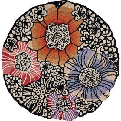 Sinuous Black / Multi 6 ft. Round Floral Blossoms Wool Blend Area Rug