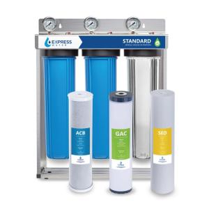 Express Water 3 Stage Whole House Water Filtration System – SED, Charcoal, Carbon – includes Pressure Gauges and more