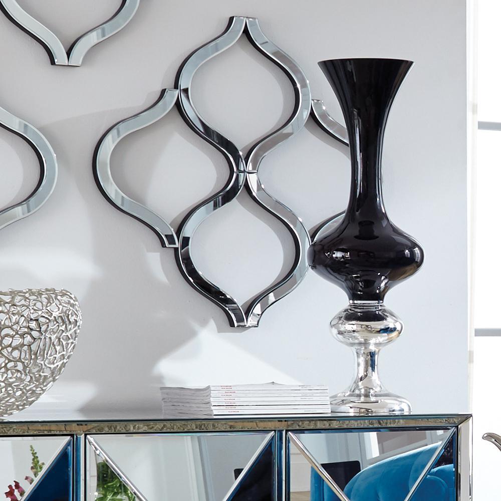 Short Black Hand Blown Glass Decorative Vase