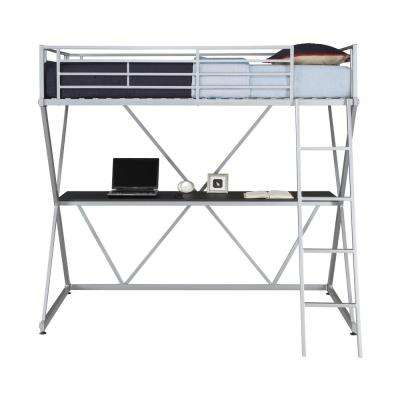 Cora Silver Twin Loft Bed with Desk