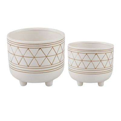 6 in. and 5 in. White/Gold Ceramic Line Geometric with Legs Mid-Century Planter (Set of 2)