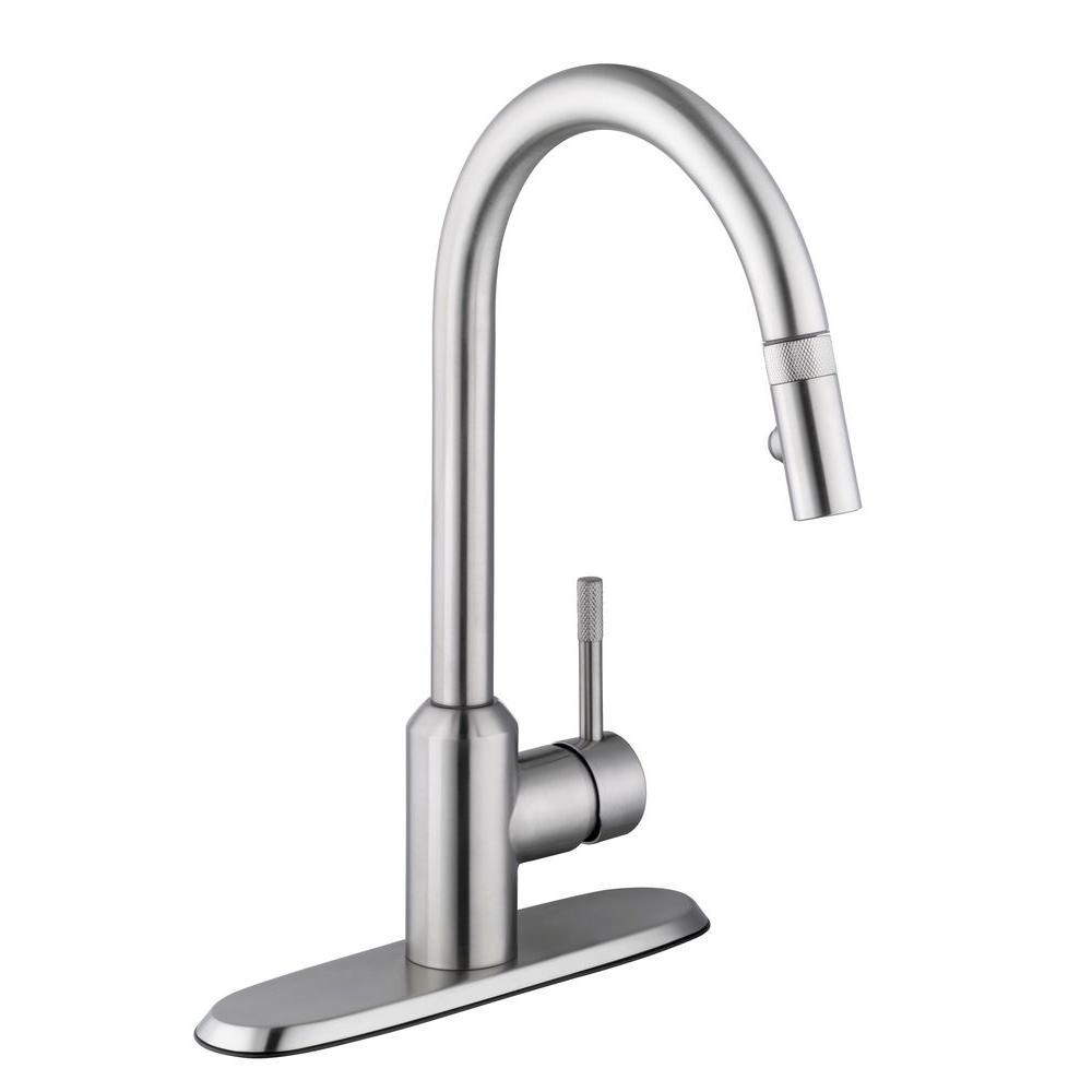 Glacier Bay Axel Single-Handle Pull-Down Sprayer Kitchen Faucet in Stainless Steel