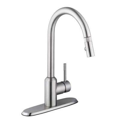 Axel Single-Handle Pull-Down Sprayer Kitchen Faucet in Stainless Steel