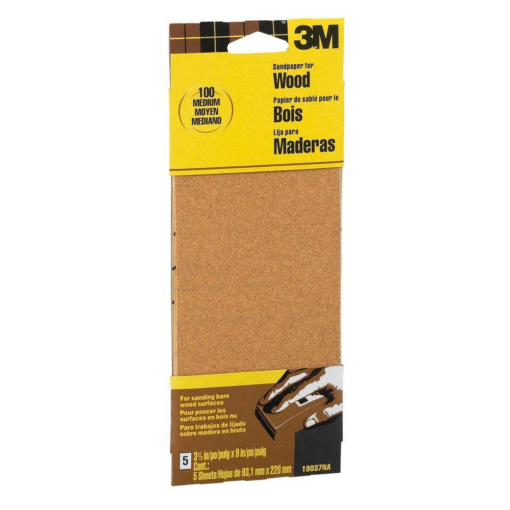 Garnet 3-2/3 in. x 9 in. 100 Grit Medium Grade Sand Paper (6-Sheets/Pack)