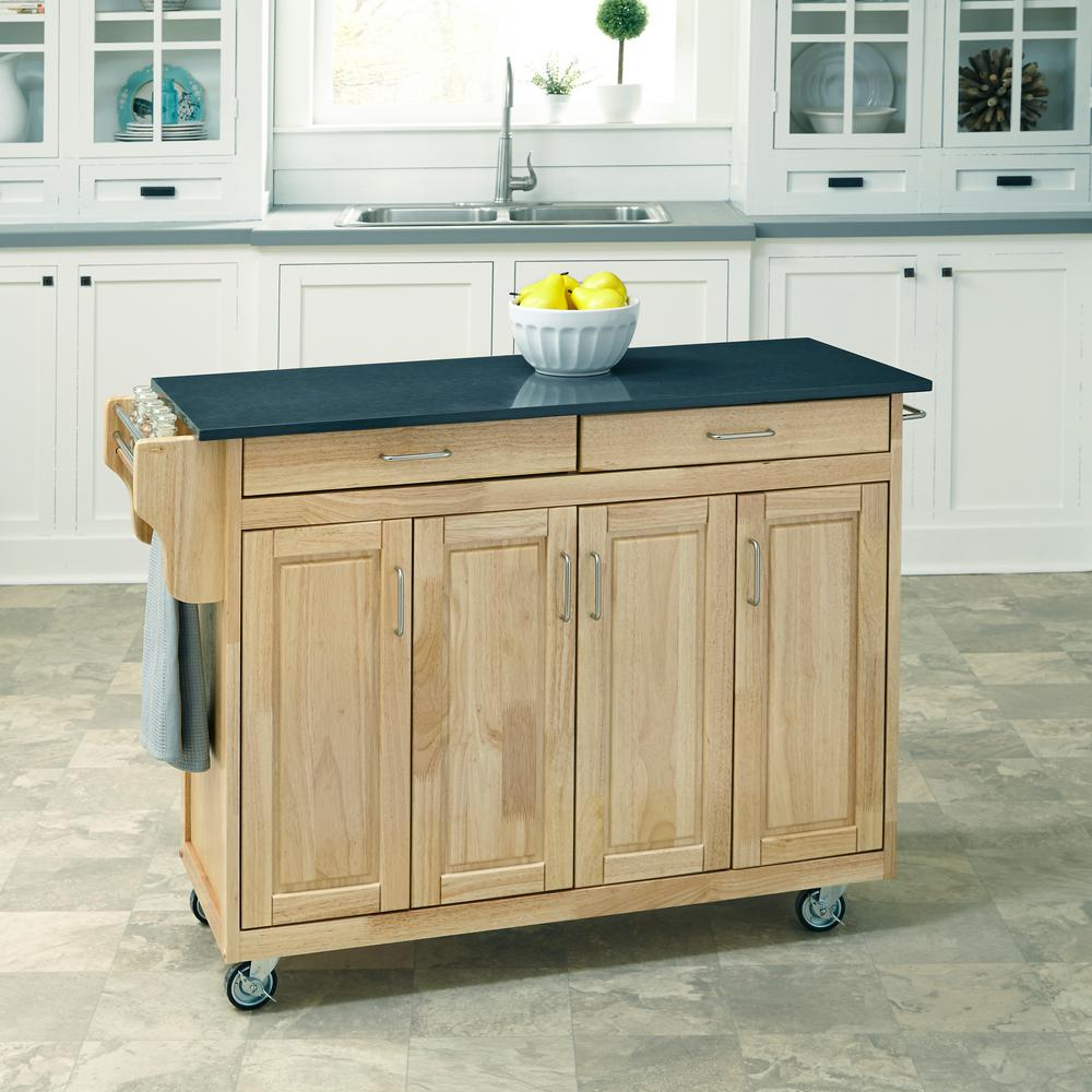 Home Styles Create A Cart Natural Kitchen Cart With Quartz Top