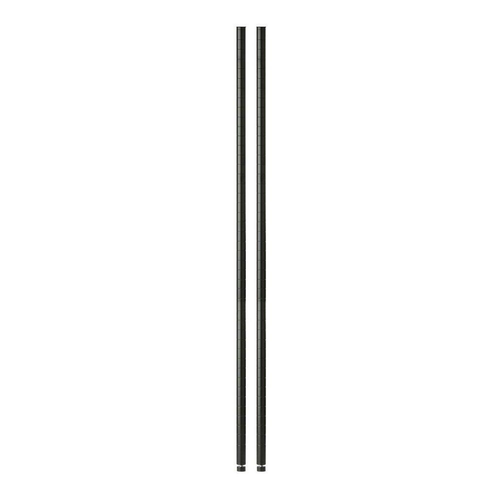 Black 48 in. Pole with Leg Levelers (2-Pack)