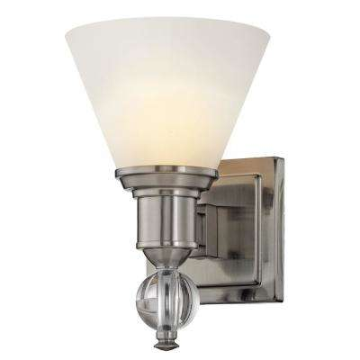 Sofia 1-Light Satin Nickel Sconce with Opal Glass Shades