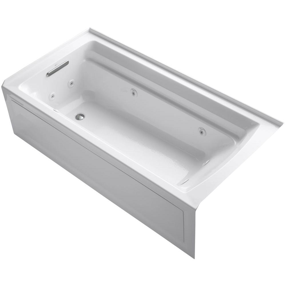 KOHLER Archer 6 ft. Acrylic Left Drain Rectangular Alcove Whirlpool Bathtub in White
