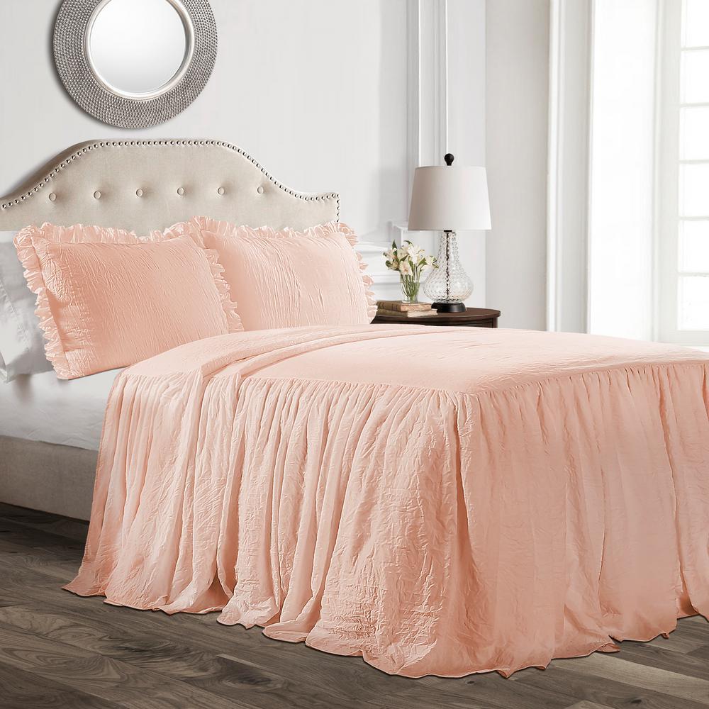 Ruffle Skirt Bedspread Blush 3-Piece Full Set