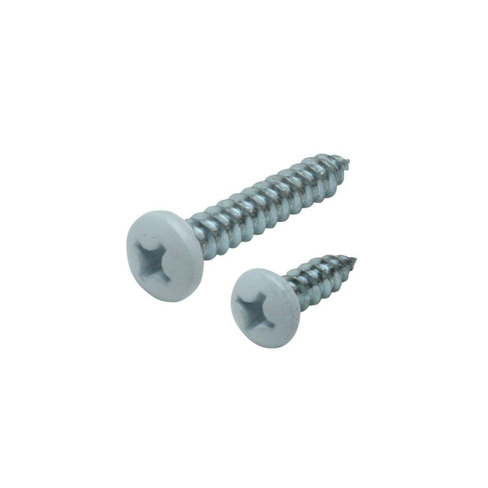 #14 x 1-1/2 in. and #12 x 3/4 in. White Heavy Duty Shelf Bracket Screw Kit (12-Pack)