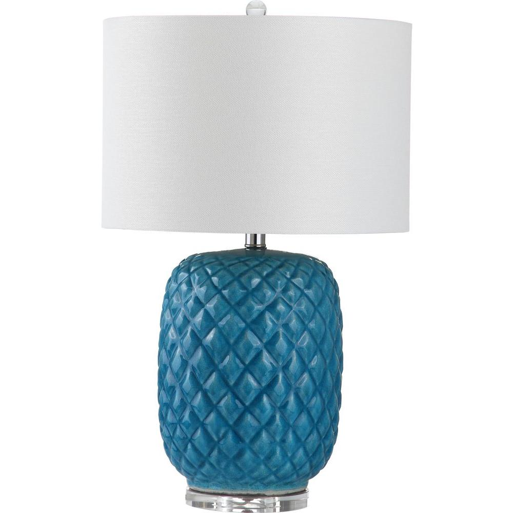 Chaney 25.25 in. Blue Table Lamp with White Shade