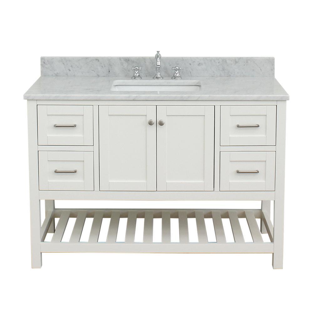 Westchester 49 in. W x 34 in. H Bath Vanity in White with Marble Vanity Top in White with White Basin