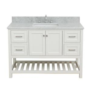 Westchester 49 in. W x 34 in. H Bath Vanity in White with Marble Vanity Top in White with White Basin
