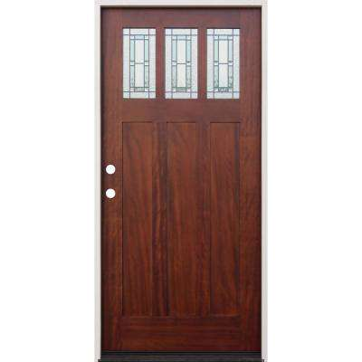 36 in. x 80 in. Pecan Right-Hand Inswing 3-Lite Triple Pane Decorative Glass Stained Mahogany Prehung Front Door
