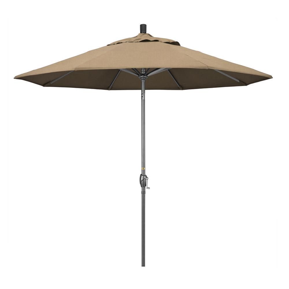 9 ft. Hammertone Grey Aluminum Market Patio Umbrella with Push Button Tilt Crank Lift in Heather Beige Sunbrella