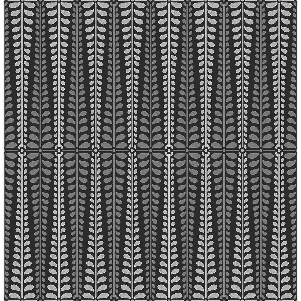 Stellar Black Floral Stripe Wallpaper Sample