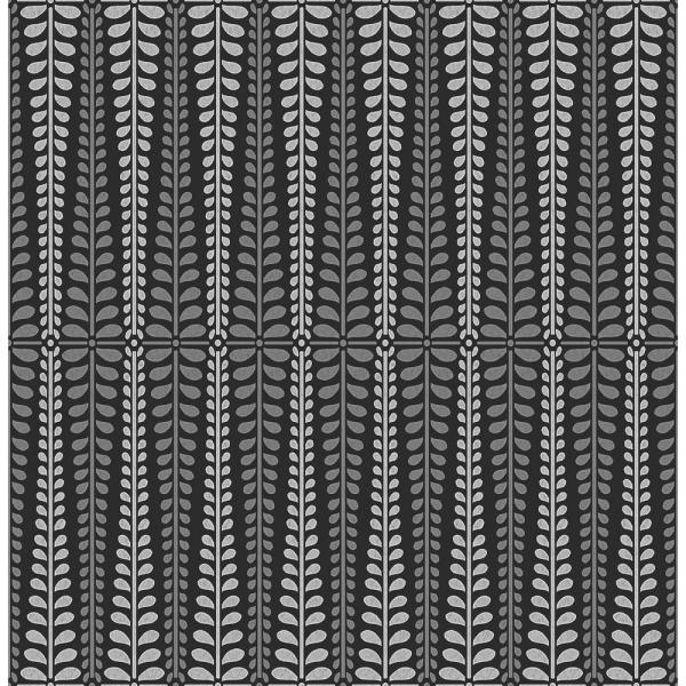 A-Street Stellar Black Floral Stripe Wallpaper Sample 2716-23826SAM