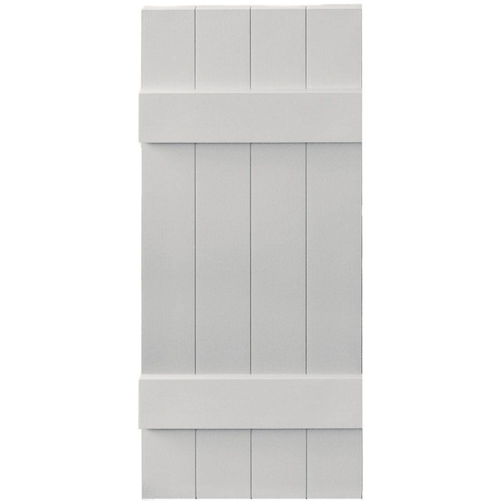 Builders Edge 14 in. x 35 in. Board-N-Batten Shutters Pair, 4 Boards Joined #030 Paintable