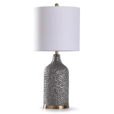 Rochford 32 in. Antique Brass Table Lamp with Silver Glass