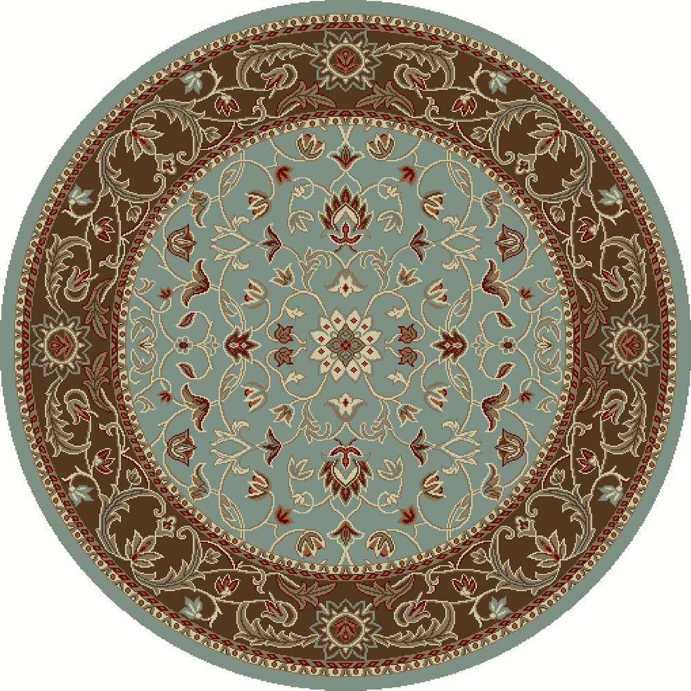 Chester Flora Blue 5 ft. 3 in. Round Area Rug