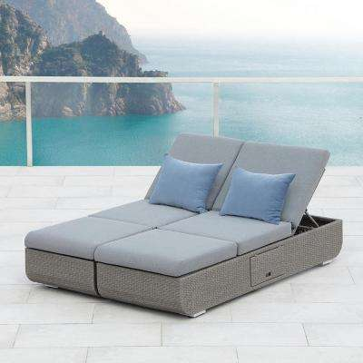 Nadia 1-Piece Gray Wicker Outdoor Day Bed with Gray Cushions