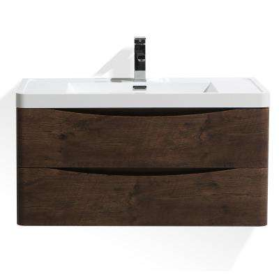 Smile 36 in. W Wall Hung Bath Vanity in Rosewood with Reinforced Acrylic Vanity Top in White with White Basin