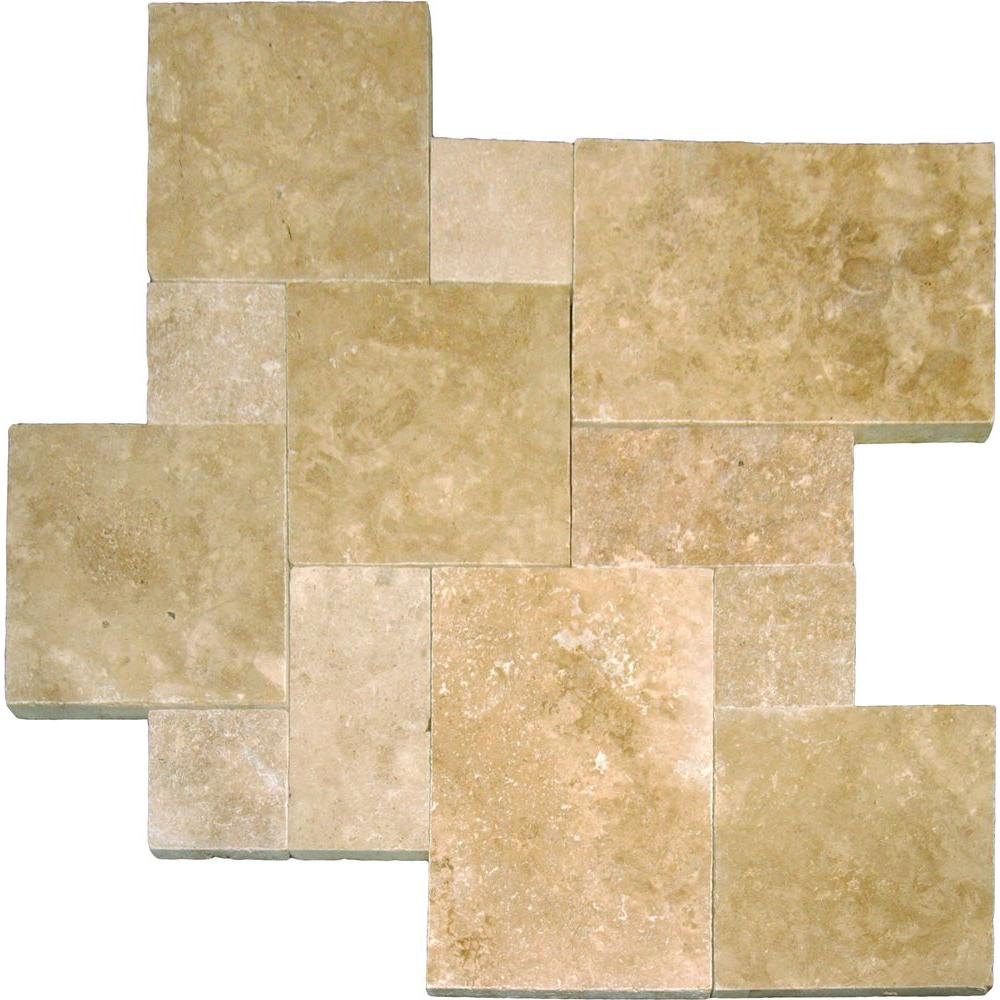 Mediterranean Walnut Pattern 16 in. x 24 in. Tumbled Travertine Paver