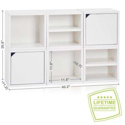 Connect System 40.2 in. W x 26.8 in. H Modular Eco Stackable 6-Cube Cubby Organizer in Natural White