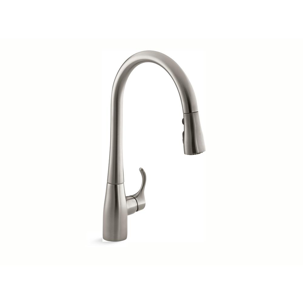 Kohler Simplice Single Handle Pull Down Sprayer Kitchen Faucet With Docknetik And Sweep Spray In Vibrant Stainless K 596 Vs The Home Depot