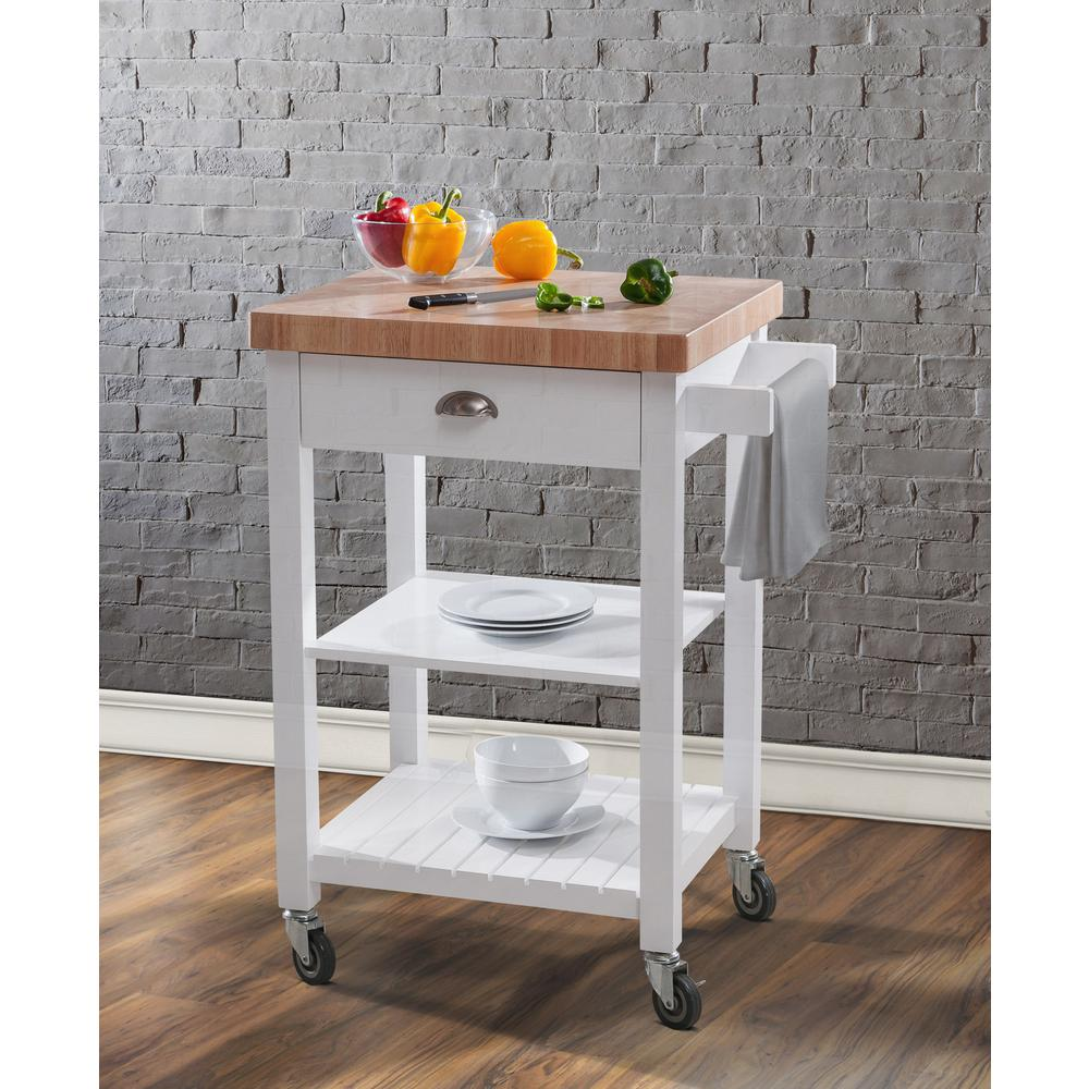 Hampton Bay Bedford White Kitchen Cart With Butcher Block Top