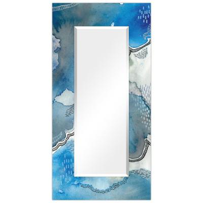 Oversized Rectangle BlueWhite Beveled Glass Contemporary Mirror (72 in. H x 36 in. W)