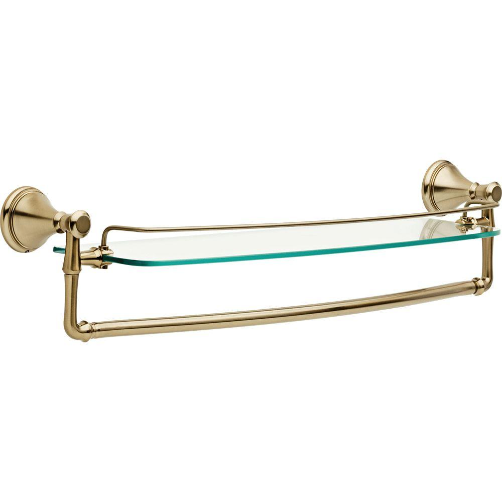 Cassidy 24 in. Glass Bathroom Shelf with Towel Bar in Champagne
