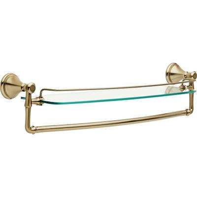 Cassidy 22.5 in. W Glass Bathroom Shelf with Towel Bar in Champagne Bronze